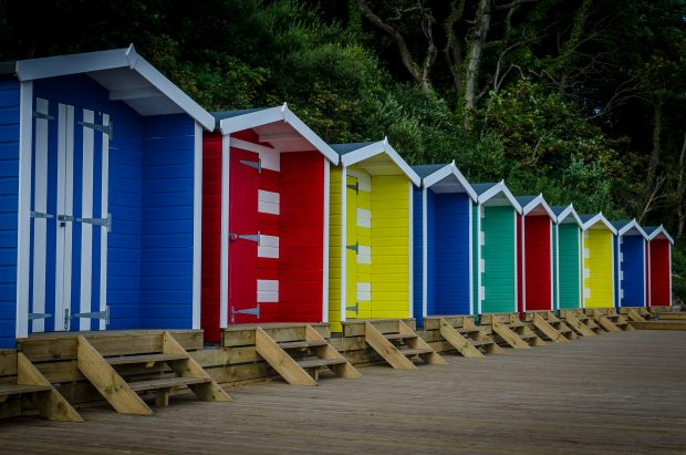 Colourful Beach Huts at Colwell Bay, Isle of Wight